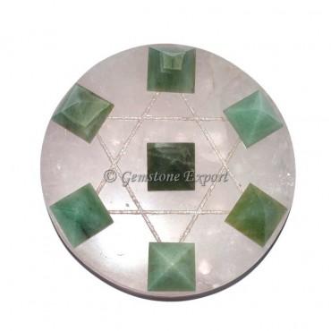 Rose Quartz Pentagram With Green Aventurine Pyrami