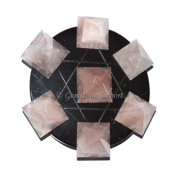Black Agate With Rose Quartz Pyramids