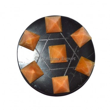 Golden Quartz Pyramids With Black Agate Pentagram