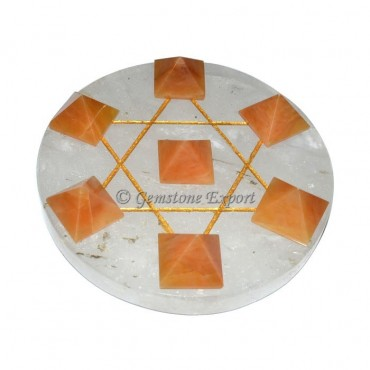 Golden Quartz With Crystal Pentagram