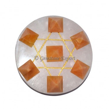 Rose Quartz With Golden Quartz Pyramids Set