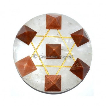 Crystal Quartz Pentagram With Peach Aventurine Set
