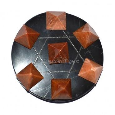 Black Agate Peach Aventurine Pyramids Set