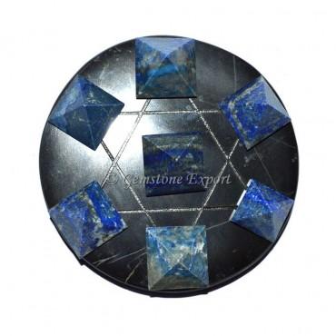 Lapis Lazuli Pyramids With Black Agate Base