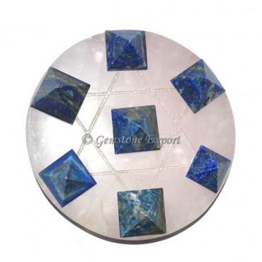 Rose Quartz With Lapis Lazuli Pyramids