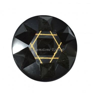 Black Agate With Black Tourmaline Pyramids