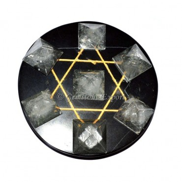 Black Agate With Crystal Quartz Pyramids Pentagram