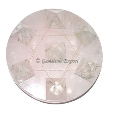 Rose Quartz with Crystal Quartz Pyramids Pentagram