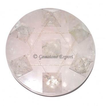 Rose Quartz with Crystal Quartz Pyramids Pentagram