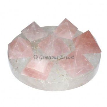 Crystal Quartz with rose quartz David star pyramid