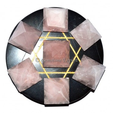 Black agate with rose quartz pyramids set