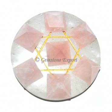 Rose Quartz Engraved Pentagram Pyramids Set