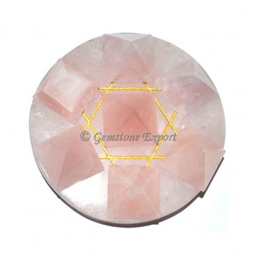 Rose Quartz healing crystals pyramids set