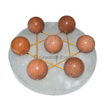 Crystal Quartz with Peach Aventurine ball set