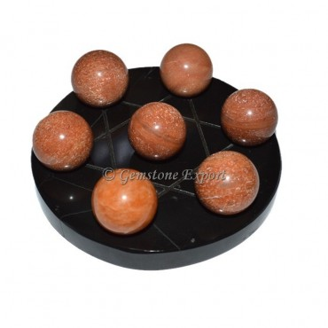Black Agate With Peach Aventurine Ball set