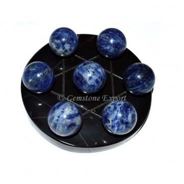 Sodalite Sphere David Star Set