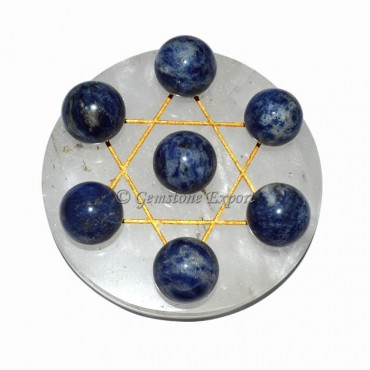 Crystal Quartz Sodalite David Star set