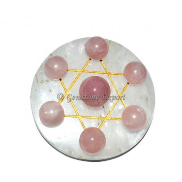 Crystal Quartz with rose quartz big David star set