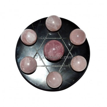Black agate davide star set with rose quartz