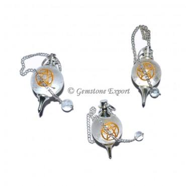 Crystal Quartz Pentagram Engraved Pendulum
