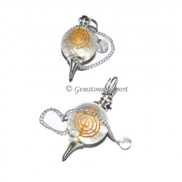 Crystal Quartz Choko Reiki Engraved Pendulum
