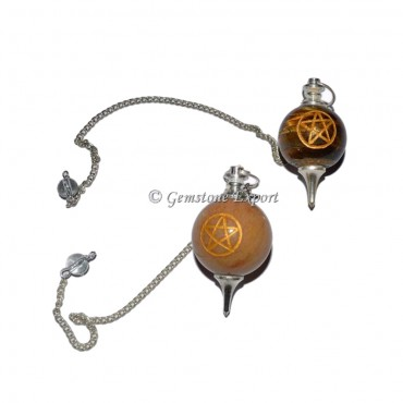Assorted Gemstone Pentagram Engraved Pendulum