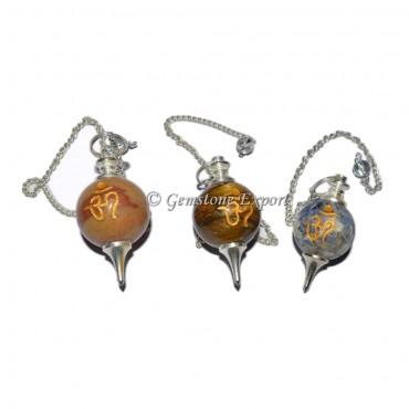 Assorted Gemstone Om Engraved Pendulum