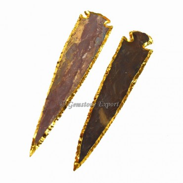 Agate 6 inch Gold Electroplated Arrowhead