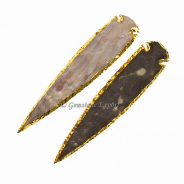 Agate 7 Inch Gold Electroplated Arrowhead