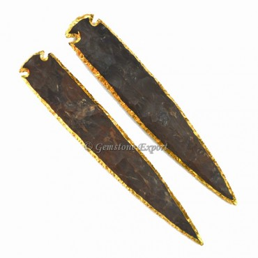 Agate 10 Inch Gold Electroplated Arrowhead