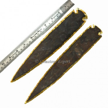 Agate 11 Inch Gold Electroplated Arrowhead