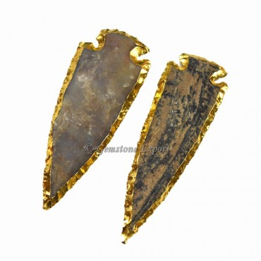 Agate 4 Inch Gold Electroplated Arrowhead