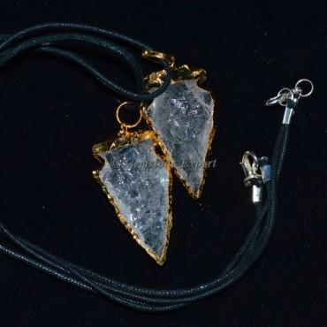 Crystal Quartz Electroplated Arrowheads Pendants
