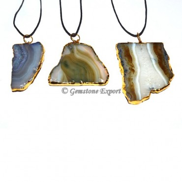 Agate Slice Electroplated Pendants