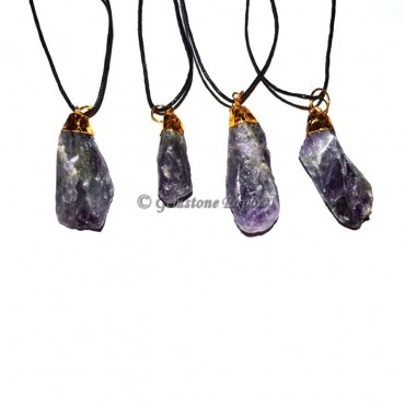 Amethyst Natural Point Electroplated Pendants