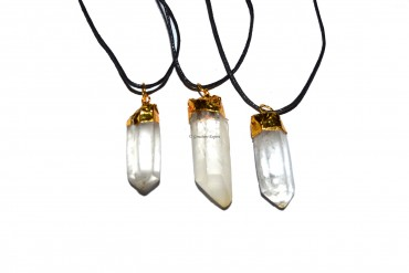 Crystal Quartz Natural Point Electroplated Pendant