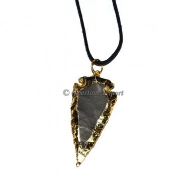 Black Jasper Electroplated Arrowheads Pendants