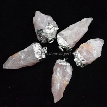 Rose Quartz Pendulums Electroplated Pendants