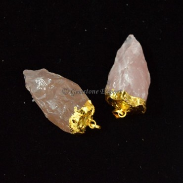 Rose Quartz Gold Plated Pendulums Pendants