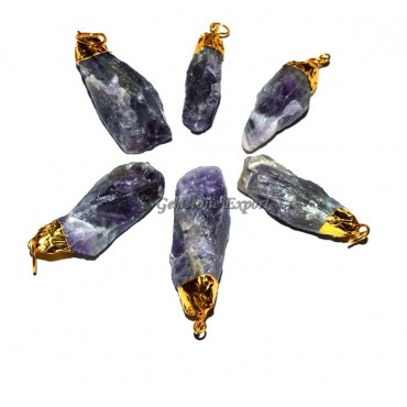 Amethyst Natural Point gold Plated Pendants