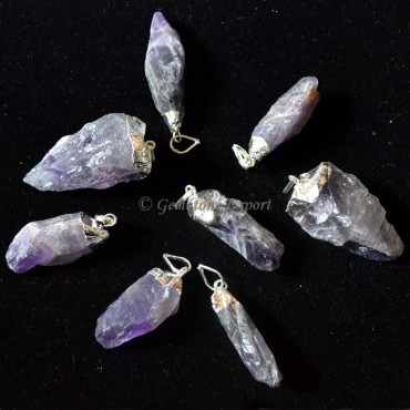 Amethyst Silver Electroplated Pendants