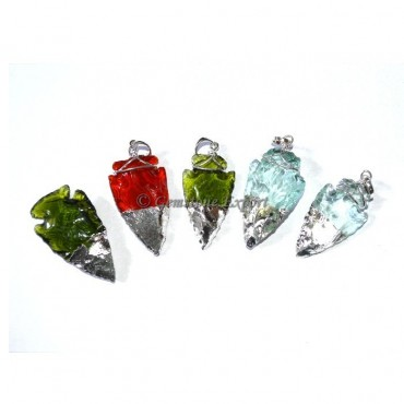 Colorful Obsidian Silver Electroplated Pendants
