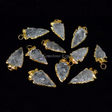 Crystal Quartz Electroplated Pendants