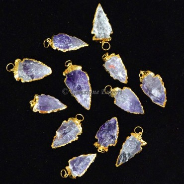 Amethyst Electroplated Arrowheads Pendants