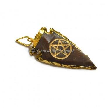Pentagram Engraved Arrowhead Pendant