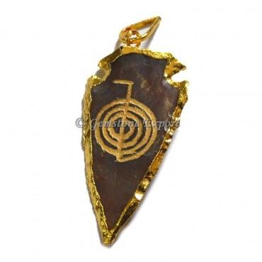 Choko Reiki Engraved Arrowheads Pendant
