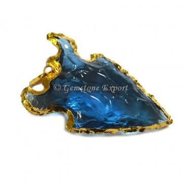 Blue Glass Electroplated Pendant