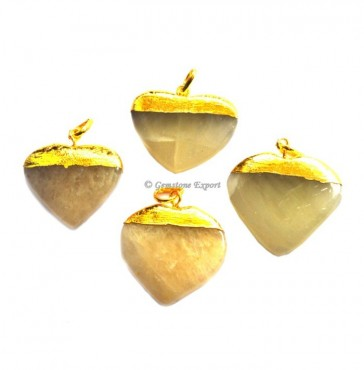 Golden Quartz Hearts Electroplated Pendant