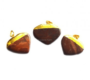 Red Jasper Hearts Electroplated Pendant