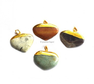 Assorted Stones Hearts Electroplated Pendant